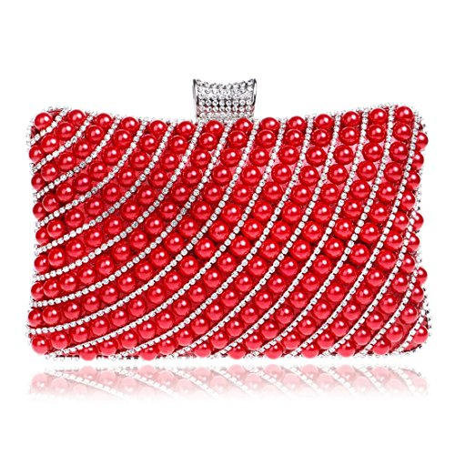 De Mode Soirée LBY soirée Femmes De des Sac Sac À Forfait Soirée Red Main Dames La Et La Sac Pearl De Banquet De wPqw1frzH