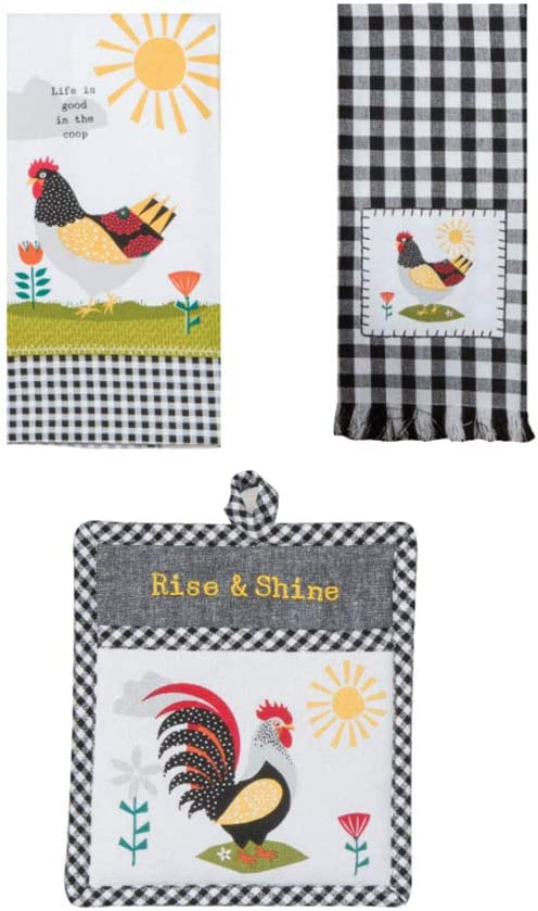Just Jazzle Kay Dee Designs Farm Charm Farmhouse Chicken Kitchen Towel and Oven Mitt Bundle, Set of 3