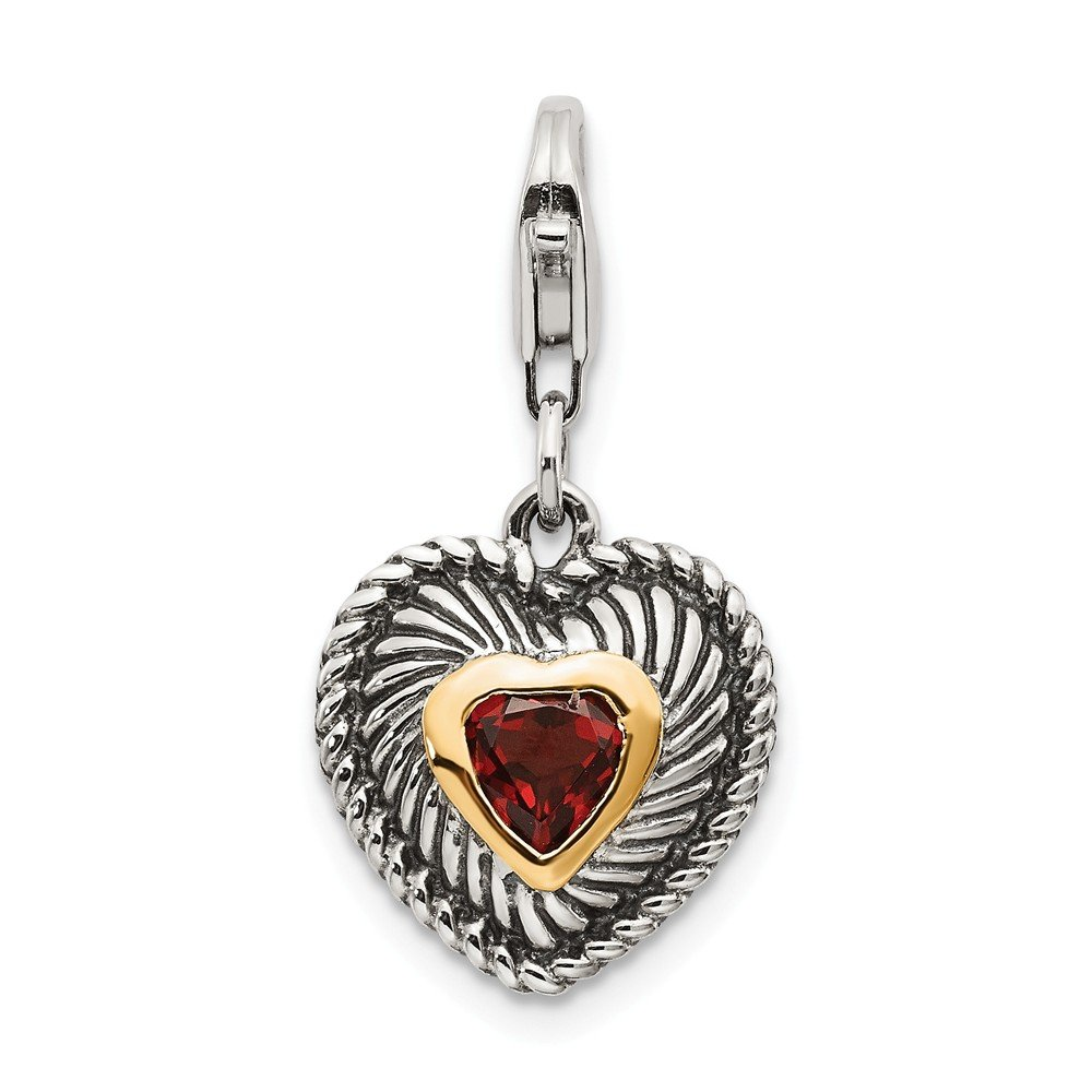 Mia Diamonds Sterling Silver with 14k Yellow Gold with Garnet Antiqued Charm 33mm x 13mm