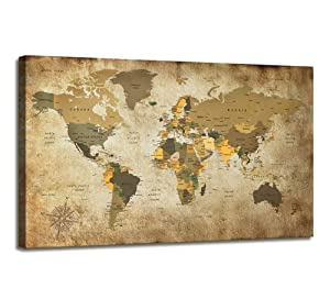 Canvas Wall Art World Map Poster Nautical Decor Modern Framed Art Map of The World Vintage Artwork Canvas Print Wall Map Pictures for Wall Painting for Office Wall Art Travel Memory for Home Decor