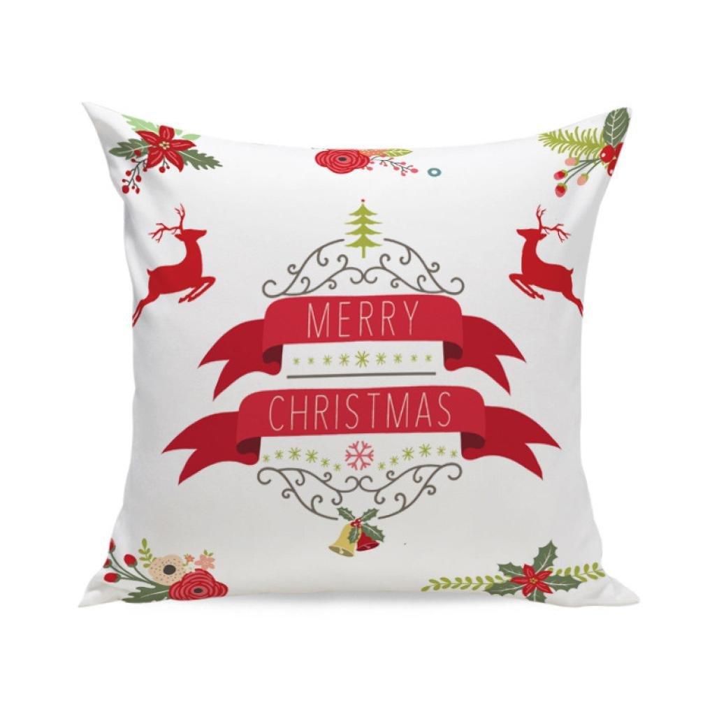 クリスマス枕ケース、paymenowクリスマスエルク正方形クッション枕カバー用のソファベッド  F B076Q835JZ