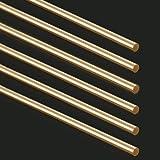 Swpeet 6Pcs 1/10 Inch Brass Solid Round Rod Lathe