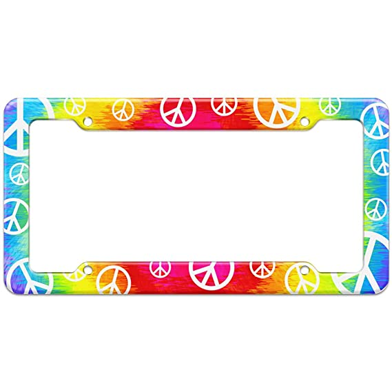 img buy Graphics and More Blank Tie Dye Peace Hippie Rainbow Pattern License Plate Frame