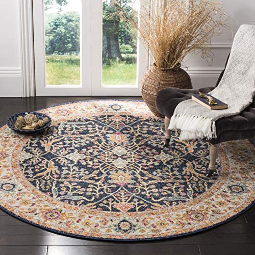 Safavieh Madison Collection MAD612D Navy and Cream Bohemian Chic Oriental Round Area Rug 5' Diameter