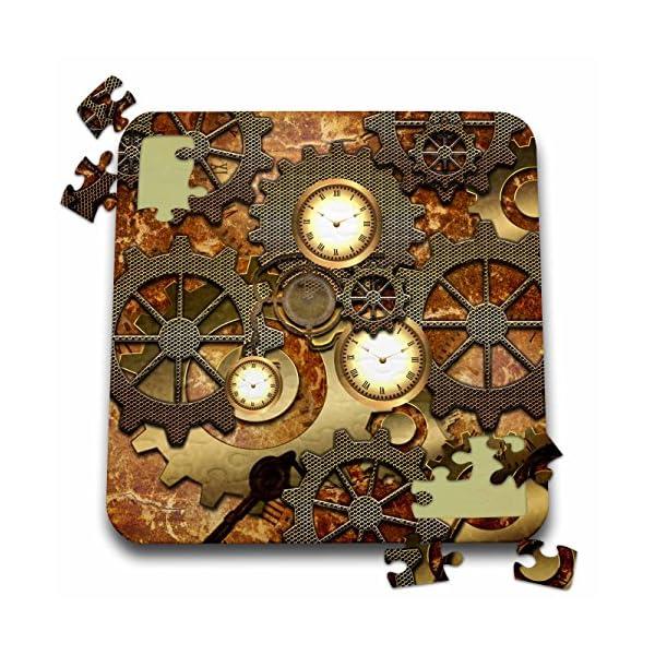 Heike Köhnen Design Steampunk - Steampunk clocks gears in golden design - 10x10 Inch Puzzle (pzl_239732_2) 3