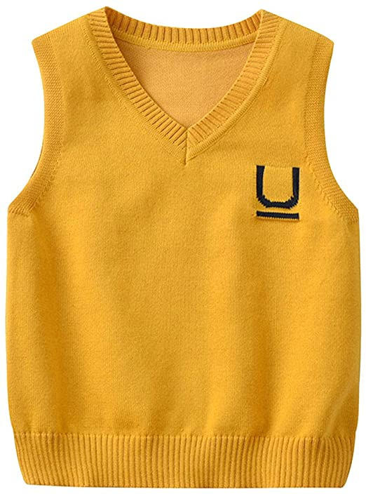 Zerototens Kids Knitted Vest,Toddler Boys Girls O Neck Sleeveless Knitted Cotton Plain Pullover Blouse Sweatshirt Tops Children Clothes Autumn Winter Warm Tank Tops Waistcoat