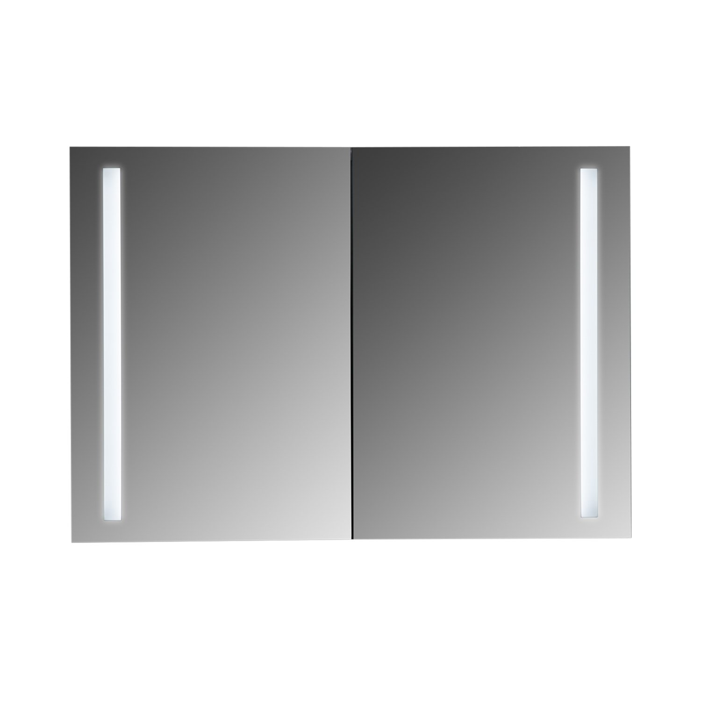 MAYKKE Bailey 40'' W x 28'' H LED Mirror Medicine Cabinet with 2 Doors, Double Door Mirror Cabinet with LED Lighting, Wall Mounted Lighted Bathroom Vanity Mirror UL Certified, LMA1104001
