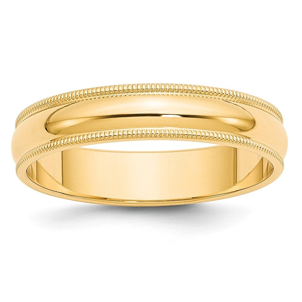 Best Birthday Gift 14k 5mm Milgrain Half-Round Wedding Band by Jewelry Brothers Rings (Image #1)