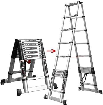Escalera de escaleras telescópicas, plegable de aluminio, liviana, plegable, para techos de oficinas, mantenimiento de edificios, carga de 150 kg (Size : 2.6+2.6m): Amazon.es: Bricolaje y herramientas