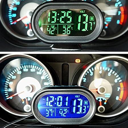Car Auto Digital Innen//Aussen Thermometer//Spannung-Monitor//Uhr Meter Alarm