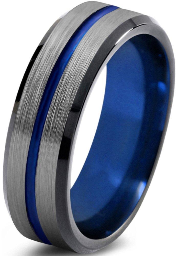 Tungsten Wedding Band Ring 6mm for Men Women Blue Red Green Purple Black Center Line Beveled Edge Brushed Polished Size 9.5