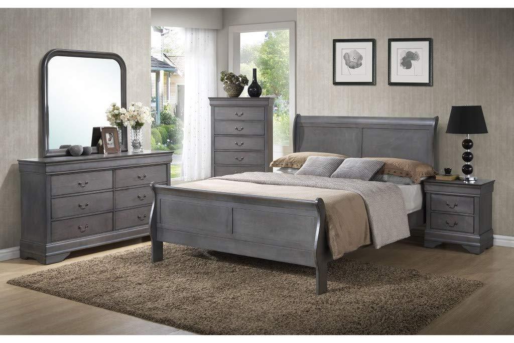 GTU Furniture Classic Louis Philippe Styling Grey Louis Philippe 5Pc Queen Bedroom Set(Q/D/M/N/C)