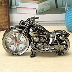 Jet Motorcycle Motorbike Bike Moto Alarm Clock Desktop Despertadores Table Bedside Relojes Bedroom Decor (Silver)