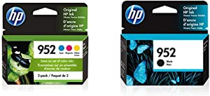 HP 952 | 3 Ink Cartridges | Cyan, Magenta, Yellow | L0S49AN, L0S52AN, L0S55AN & 952 | Ink Cartridge | Black | F6U15AN