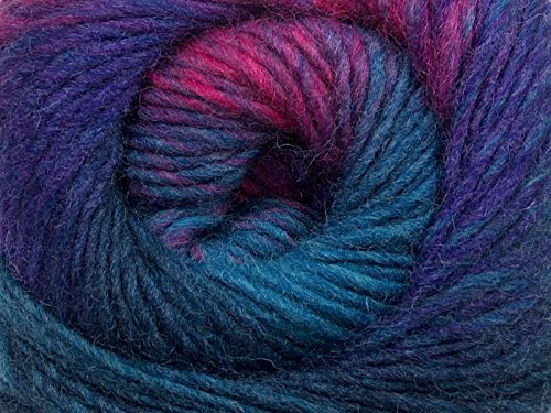 (1) 100 gram Magic Wool Deluxe Self-Striping Worsted Weight Yarn - Blue, Purple, Pink, Grey
