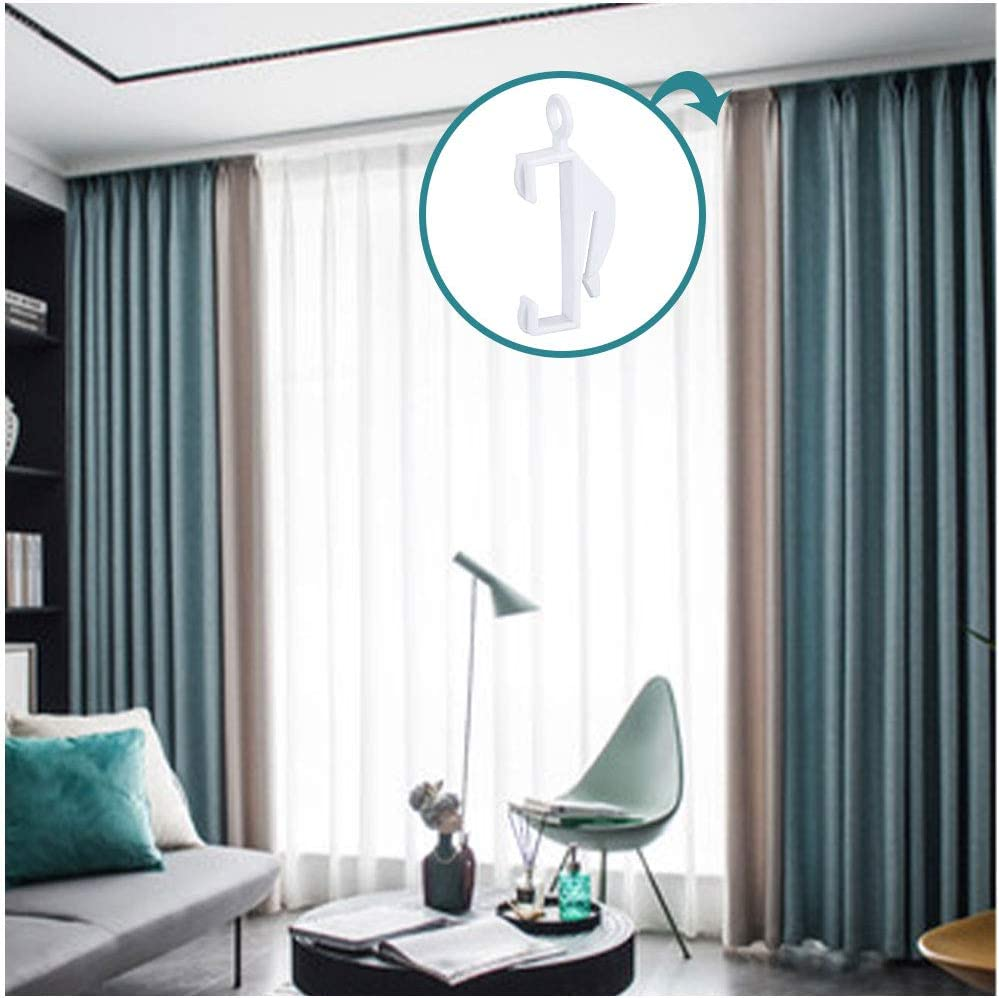 Curtain Glider Hooks with Sturdy Grip Fit Drape Integra for Window and Shower jlon 50 PCS Curtain Rail Sliding Hooks Plastic White Curtain Rail Track Glider Hooks