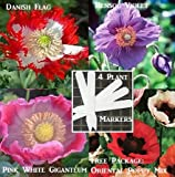 4 Packs Poppy Flower 600 Seeds Upc 646263361061 + 4 Plant Markers