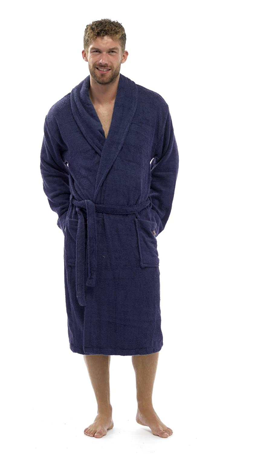 Strong Souls Mens 100% Cotton Robe Luxury Terry Towelling Bath Robes Dressing Gown Housecoat + Belt Size UK M-XL ht571