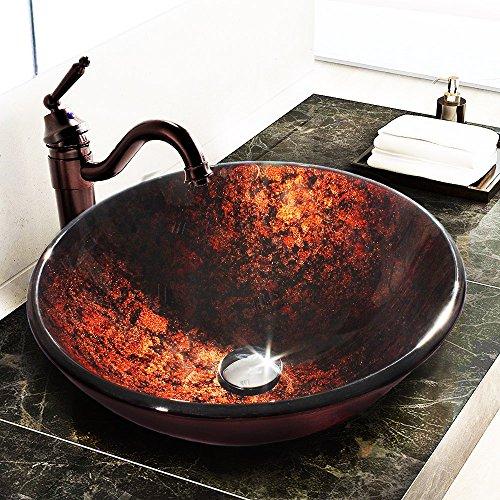 VCCUCINE Atmospheric Lavatory Round Bowl Handmade Pattern Basin Tempered Glass Bathroom Vessel Sink,Tempered Lavatory Vanity Glass Bathroom Sink