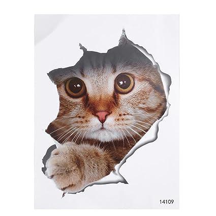 Kicode Lovely Dog Cat Stickers De Toilette Peinture Animale En 3d