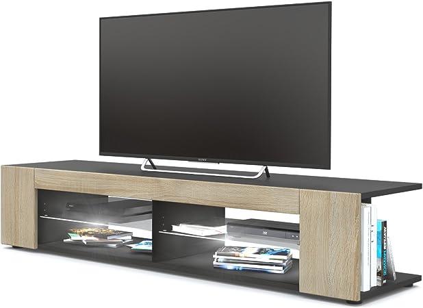 Mesa para TV Lowboard Movie, Cuerpo en Negro Mate/Frentes en Roble áspero con iluminación LED en Blanco: Vladon: Amazon.es: Hogar
