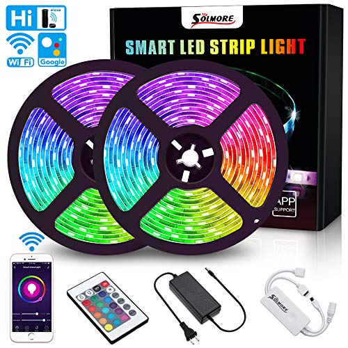 SOLMORE LED Strip Lights WiFi 10M 32.8Ft RGB 5050 LEDs Color Changing Kit Wireless Smart Phone Rope Lights 24Key IR Remote Works with Android iOS System Alexa IFTTT and Google Assistant -