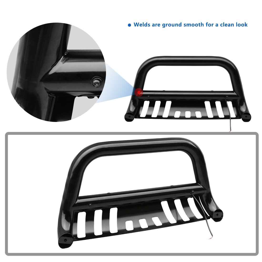 AUTOSAVER88 Bull Bar Compatible for 04-18 Ford F150 Black HD Heavyduty 3 Tube Brush Push Front Bumper Grill Grille Guard with Skid Plate Q235A