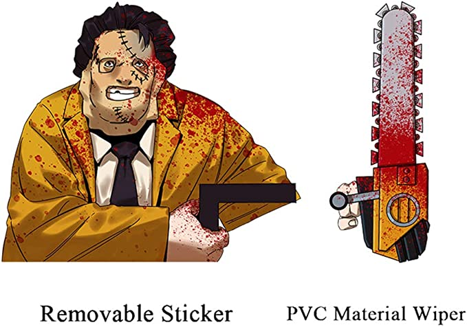 vylymuses Halloween Wiper Decal Chainsaw Massacre Americas Top 4 Horror Movies Rear Window Wiper Decal Cartoon Wiper Arm for Halloween Vehicle Wiper Tags Car Back Windshield Decals Wiper Tags
