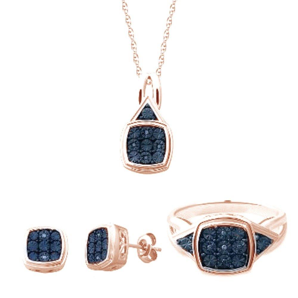 Blue Natural Diamond Pendant Earring & Ring Set Gold Rose Over Sterling Silver