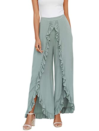 a026eb2448ec8 Simplee Women s Summer Loose Wide Leg Pants High Slit Ruffle Palazzo Pants  Green 8