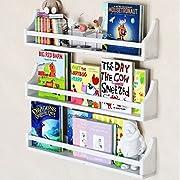 Set of 3 Stylish Baby Nursery Room Wall Shelf Sturdy Birch Wood (Long (30 ), white)