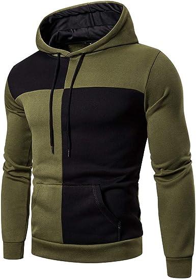 Men/'S Winter Color Block Hoodie Pullover Fleece Sweatshirt Hooded Coat Sweater