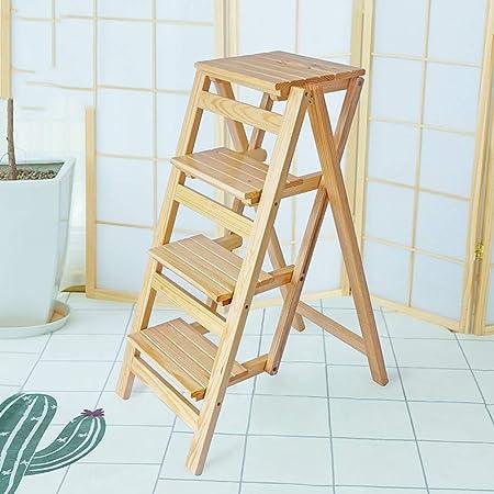 BNSDMM Taburete plegable para peldaños Escaleras de madera de 2/3/4 niveles Taburetes pequeños para pies Taburete plegable con escalones de madera para adultos y niños Escalera de mano plegable para i: Amazon.es: