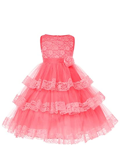 cb09630439315 SOFYANA Baby - Girl's Lace Princess Gown Birthday Long Frock Dress_Coral  Flower Net_113_2-3 Years Kidswear Peach: Amazon.in: Clothing & Accessories