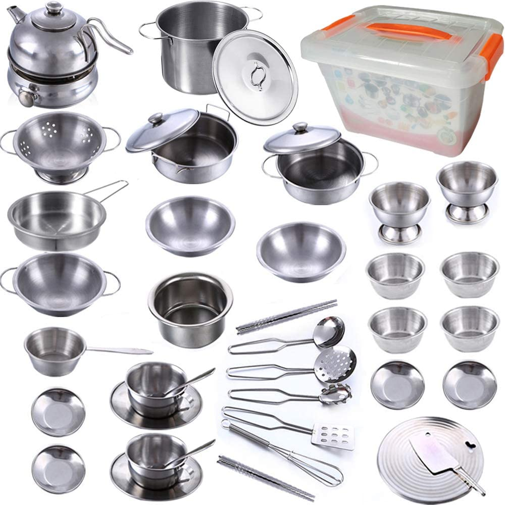KEJIH Super Deluxe 41Pcs Kitchen Pretend Play Toys with PP Storage Box, Mini Stainless Steel Pots & Pans Play Kit,Kids Cooking Utensils,Play Accessories Toys,Cookware Tea Set for Toddlers