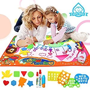 ROYI Water Drawing Mat Extra Large Size Aqua Magic Mat Colorful Water Doodle Pad for Girls Boys Kids Drawing Learning Toy Educational with Abundant Free Gift