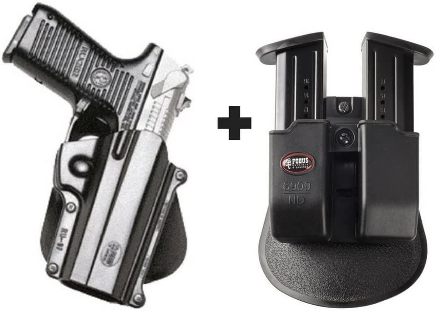 PADDLE LEATHER HOLSTER FOR RUGER P90 OWB PADDLE ADJUSTABLE CANT.