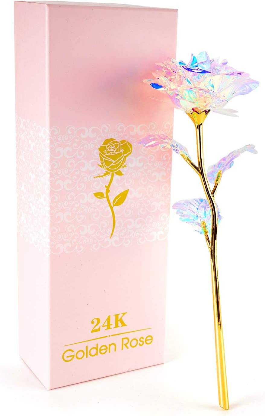 BEFINR 24K Colorful Rose Artificial Flower Unique Gifts Valentine's Day Thanksgiving Mother's Day Girl's Birthday, Best Gifts for Her for Girlfriend Wife Women