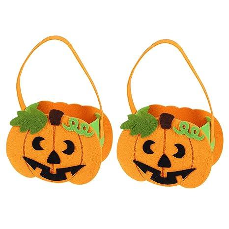 BESTONZON 2 piezas de calabaza con hojas bolsas de halloween ...