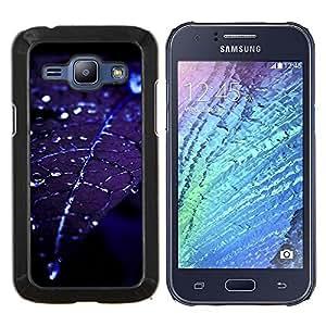 TECHCASE---Cubierta de la caja de protección para la piel dura ** Samsung Galaxy J1 J100 ** --Hoja gotitas de agua Blue Night Moonlight