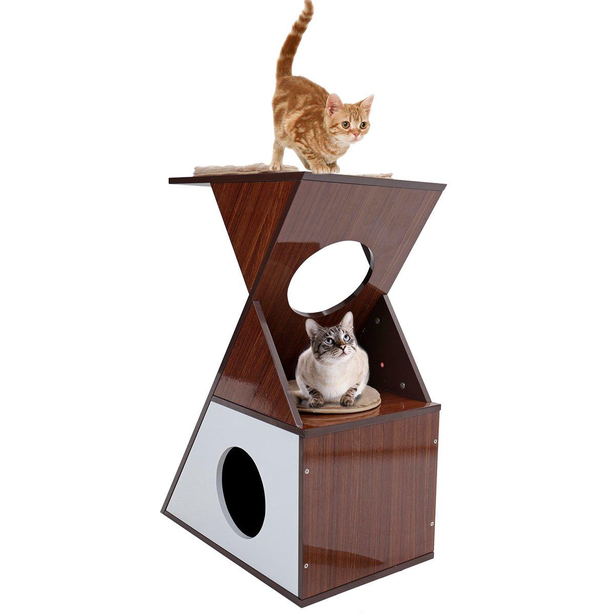 Cajitas protectoras para muebles de gato, árbol de gato, rascador para gatos, cubo de casa, cojines extraíbles, centro de actividades para mascotas con ...
