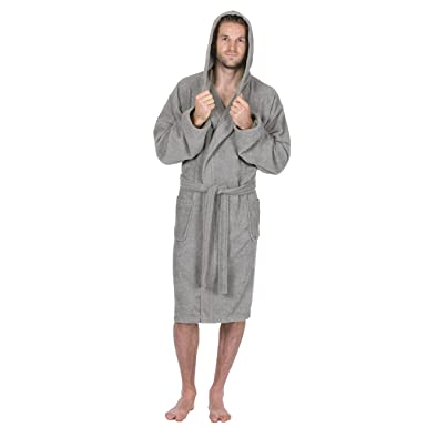 Pierre Roche Mens Hooded Towelling Robe Dressing Gown. Navy or Grey. Sizes M 6784d0c49