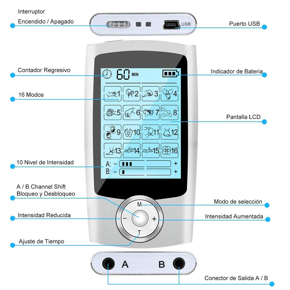 Electroestimulador TENS//EMS Masaje con 16 Modos Masajeador y Estimulador de Pulsos para Alivio del Dolor Recargable Estimulador Electrodo con Canales A//B 6pcs Almohadillas Electro Estimulador