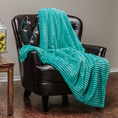 Bright Stripe Fleece (Chanasya Super Soft Ultra Plush Solid Stripe Textured bright Teal Blue Sofa Couch Bed Microfiber Throw Blanket( 50
