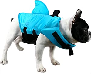 GabeFish Shark Life Jackets for Dogs, Blue, Orange, Swimwear for Cats