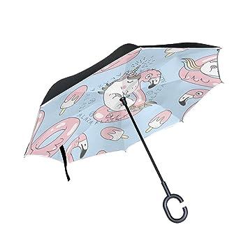 Mnsruu Paraguas invertido de Doble Capa con patrón de Unicornio Plegable con protección UV para Uso
