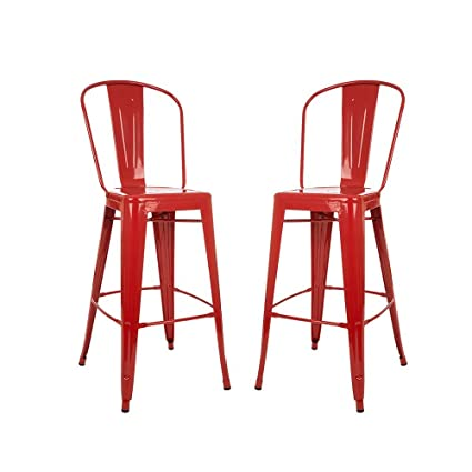 Prime Glitzhome 1005002999 Red Metal Bar Stool 2 Set Pdpeps Interior Chair Design Pdpepsorg