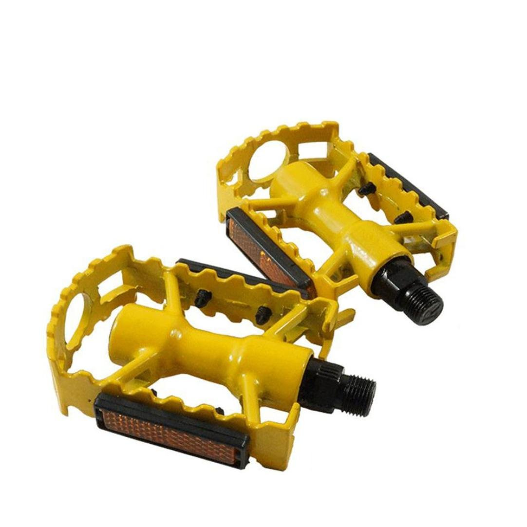 Goodtrade8 Bike Bicycle Pedals,GOTD Cycling Road Mountain Bike Bicycle Aluminum Flat Cage Platform Pedals (Yellow)