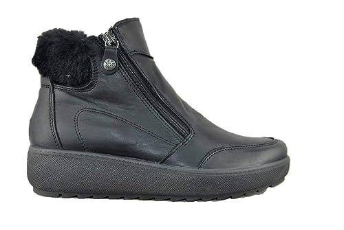 Sneakers Soft Enval 2272300 Nero Pelle Zeppa Stivaletto Donna TRIIa6q