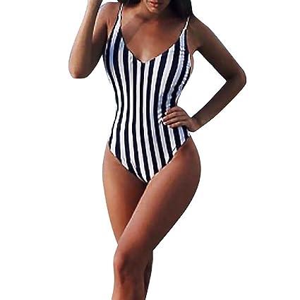 48c31b83217 Amazon.com   Euone® Swimwear Woman Girls Bosycon Striped Swimsuit ...
